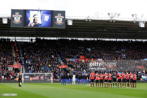 Players officals and fans take part in a minute of silence in tribute to Emiliano Sala prior to the Premier League match between Southampton FC and...