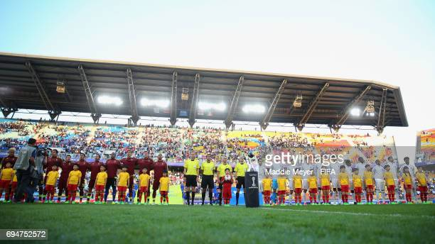 Players officials and mascots line up prior to the FIFA U20 World Cup Korea Republic 2017 Final between Venezuela and England at Suwon World Cup...