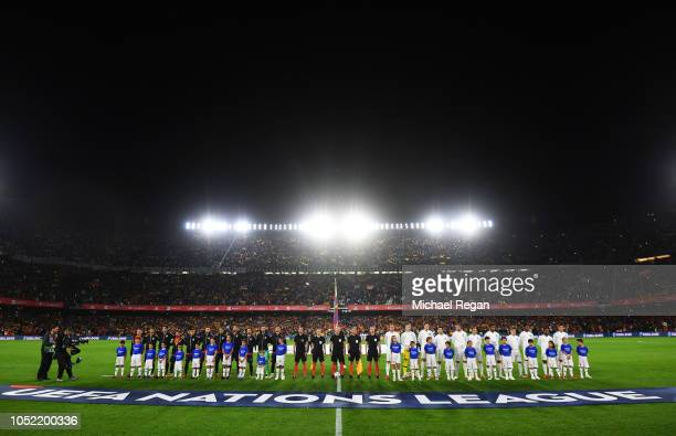 Players officials and mascots line up prior to the UEFA Nations League A Group Four match between Spain and England at Estadio Benito Villamarin on...
