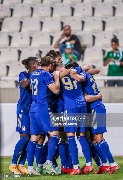Players on Dinamo Zagreb celebrate goal during the UEFA Champions League Second Qualifying Round match between GNK Dinamo Zagreb and Omonia at on...
