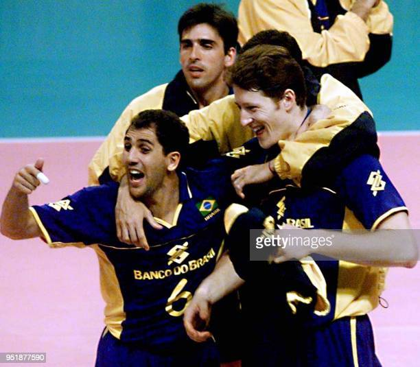 Players on the Brazilian volleyball team celebrate their victory over the United States team in the 'Luna Park' stadium in Buenos Aires Argentina...