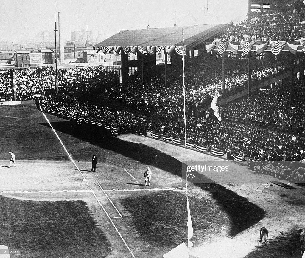 Players on the field during one of the rigged 'Black Sox' World Series baseball games between the Chicago White Sox and the Cincinnati Reds in Chicago, Illinois.