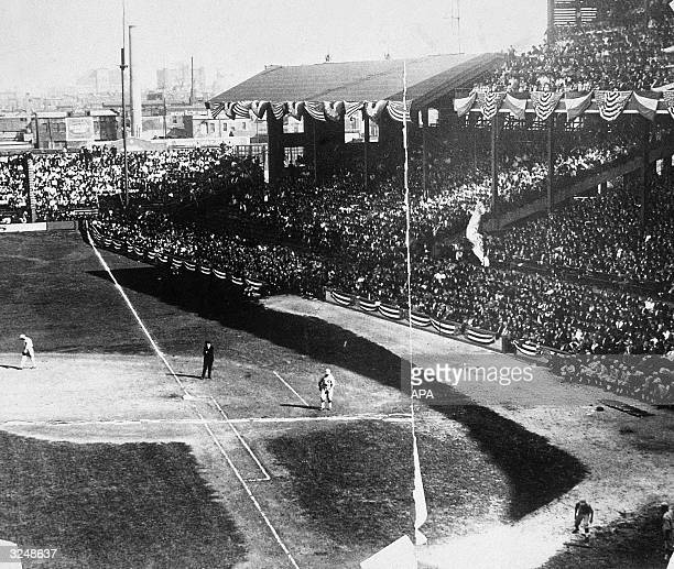 Players on the field during one of the rigged 'Black Sox' World Series baseball games between the Chicago White Sox and the Cincinnati Reds in...