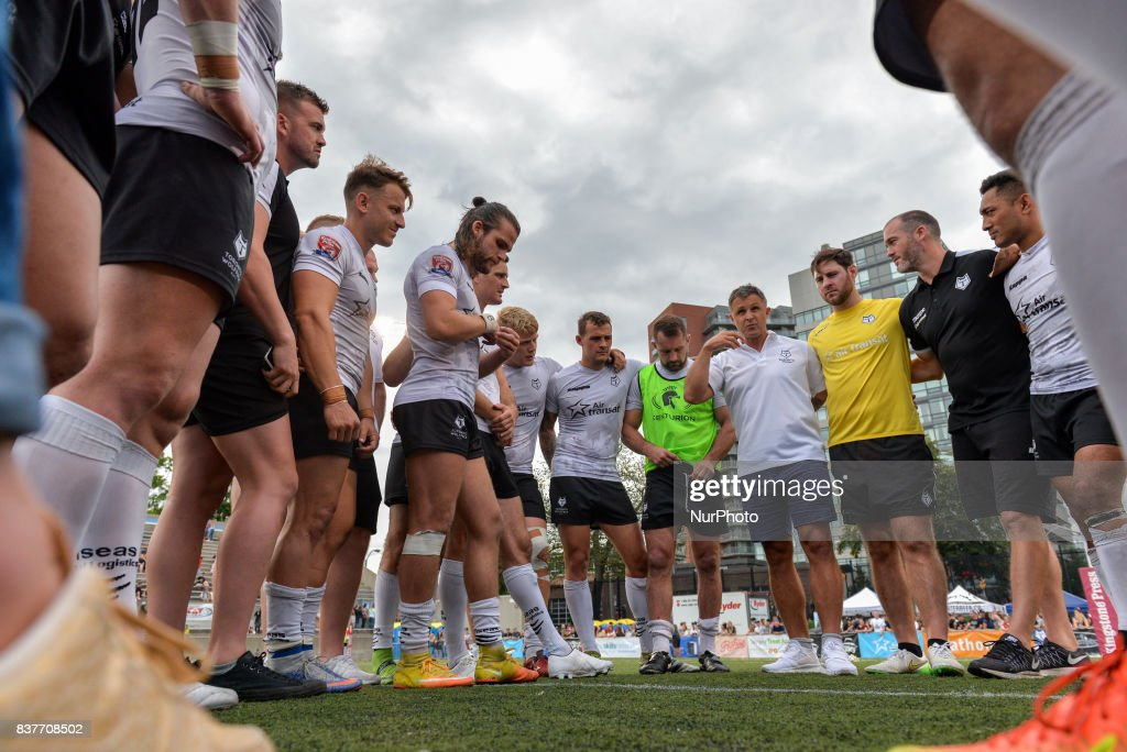 Players on the field during Super 8s Round 4 game between Toronto Wolfpack (Canada) vs Newcastle Thunder (United Kingdom) at Allan A. Lamport Stadium in Toronto, Canada. August 19, 2017.