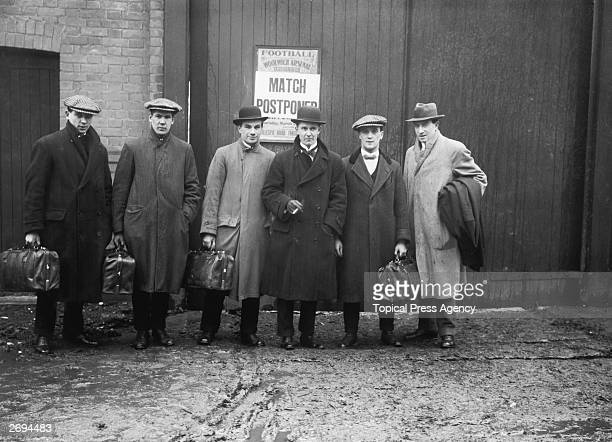 Players outside Woolwich Arsenal's ground after the game against Grimsby Town was postponed Previously known as Dial Square and then Royal Arsenal...