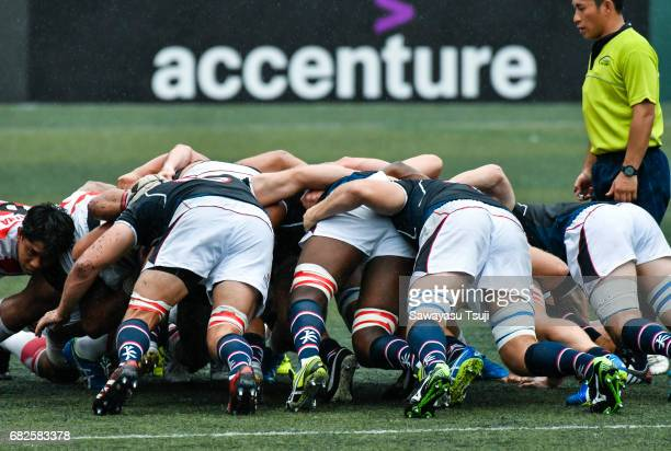 Players pack down in a scrum during the Asia Rugby Championship 2017 match between Hong Kong and Japan on May 13 2017 in Hong Kong Hong Kong