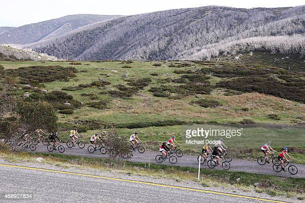 Players participate in an early morning bike ride during a Collingwood Magpies AFL Fitness Camp on November 14 2014 in Falls Creek Australia
