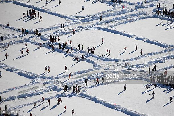 Players participate in the 2013 USA Hockey Pond Hockey National Championships on February 8 2013 in Eagle River Wisconsin The threeday tournament...