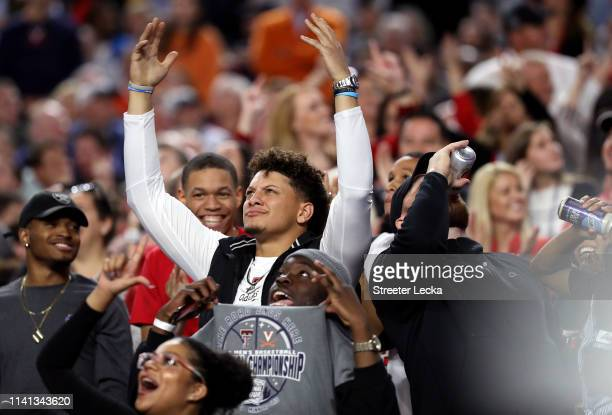 NFL players Patrick Mahomes and Travis Kelce attend the 2019 NCAA men's Final Four National Championship game between the Virginia Cavaliers and the...
