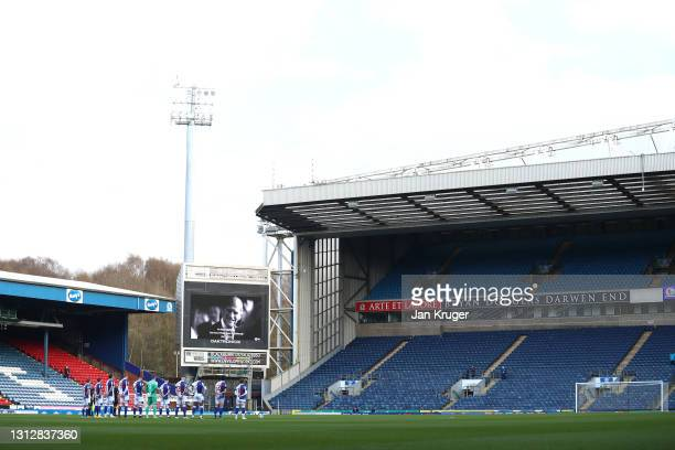 Players pay tribute to the late Duke of Edinburgh ahead of the Sky Bet Championship match between Blackburn Rovers and Derby County at Ewood Park on...