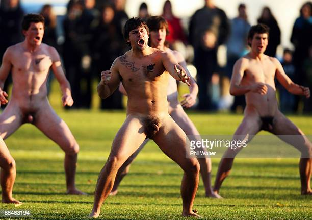 Players perform a haka before the nude rugby game at Logan Park on June 13 2009 in Dunedin New Zealand A naked rugby match is a traditional prelude...