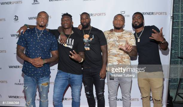 NFL players PJ Williams Devante Harris Ken Crawley Art Maulet and Damian Swann attend VaynerSports' Annual Celebrity ESPYS Kickoff Party at Avenue on...