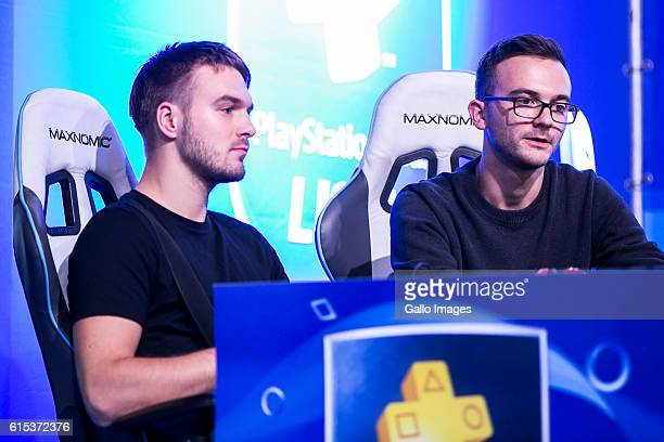 Players playing a football match using the PlayStation console during the TMobile Warsaw Games Week on October 13 2016 at EXPO XXI Exhibition Hall in...