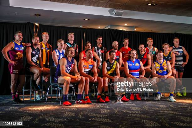 Players pose during the 2020 AFL Captains Day at Marvel Stadium on March 10, 2020 in Melbourne, Australia.