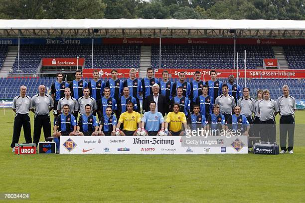 Players pose during the Bundesliga 2nd Team Presentation of TuS Koblenz at the Oberwerth stadium on July 10 2007 in Koblenz Germany Back row...