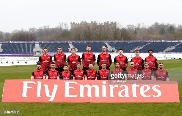 Players pose during the Durham CCC Photocall at The Riverside on April 11 2018 in ChesterleStreet England