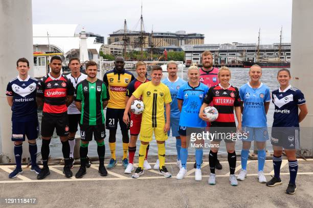 Players pose during the Fox Sports A League season Launch at Darling Harbour on December 14, 2020 in Sydney, Australia.