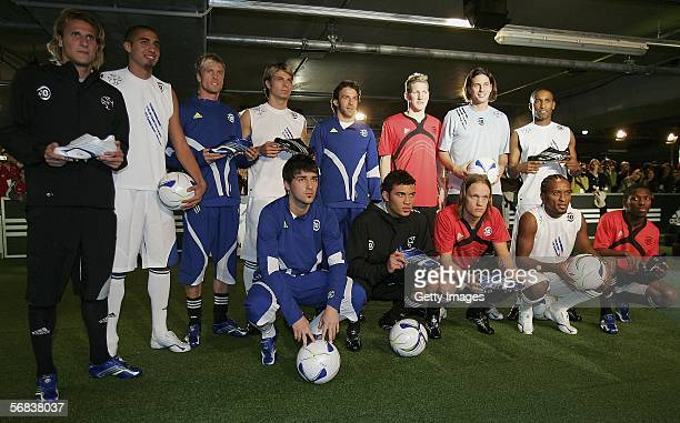 Players pose during the Major adidas F50 Tunit Launch Event on February 13 2006 in Munich