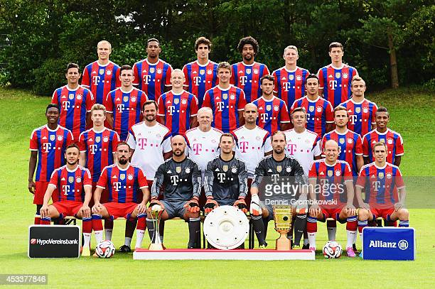 Players pose during the official FC Bayern Muenchen team presentation at Saebener Strasse on August 9, 2014 in Munich, Germany.
