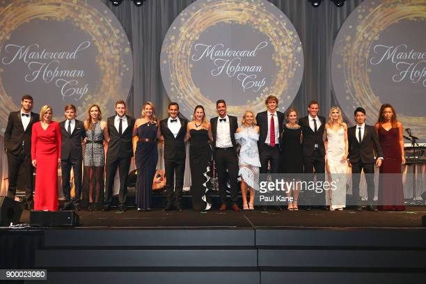 Players pose for a group photo at the 2018 Hopman Cup New Years Eve Ball at Crown Perth on December 31 2017 in Perth Australia