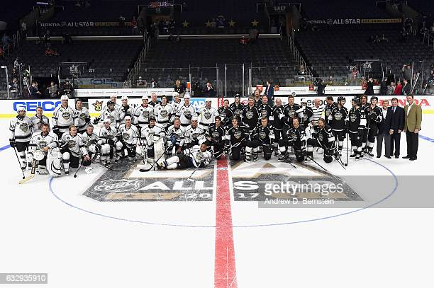 Players pose for a group photo prior to the 2017 NHL AllStar Celebrity Shootout at Staples Center on January 28 2017 in Los Angeles California