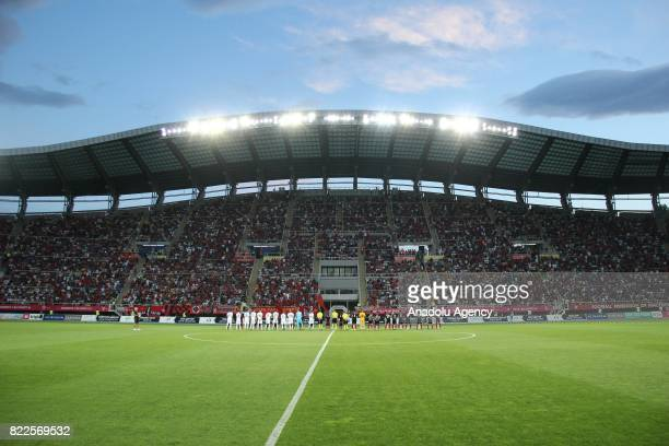 Players pose for a photo ahead of UEFA Champions League third qualifying round Game 1 match between FK Vardar and FC Copenhagen at Philip II Arena...