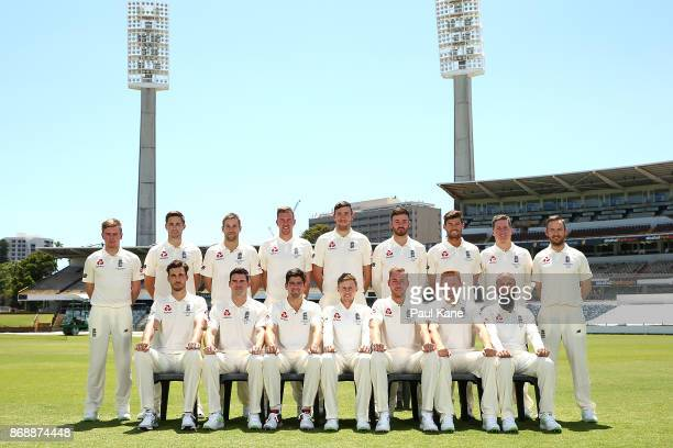 Players pose for an official team photo during an England nets session at the WACA on November 1, 2017 in Perth, Australia.
