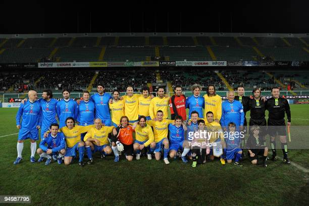 Players pose for photographers ahead of The Charity Match Between Nazionale Cantanti and Miccoli All Star at Stadio Renzo Barbera on December 21,...