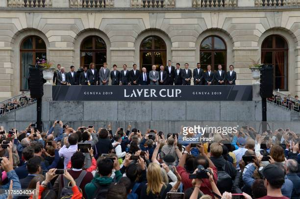 Players pose for the fans at Palais Eynard during the official welcome ceremony prior to the Laver Cup 2019 at Palexpo, on September 18, 2019 in...