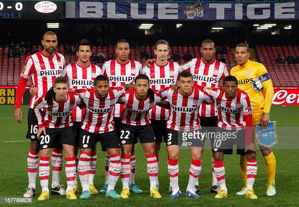 Players pose prior the UEFA Europa league Group F football match SSC Napoli vs PSV Eindhoven on December 6, 2012 in San Paolo Stadium in Napoli. AFP...