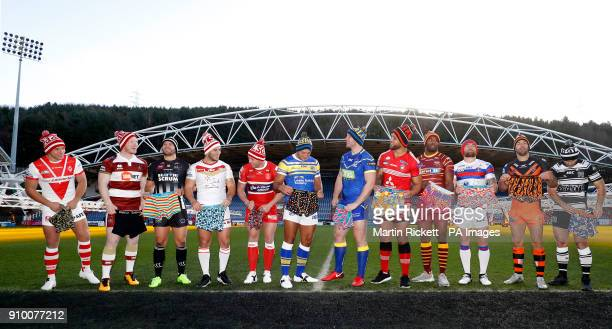 Players pose with sponsors hats and boxer shorts St helens Jonny Lomax Wigan Warriors Liam Farrell Widnes Vikings Rhys Hanbury Catalans Dragons Ben...