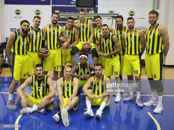 Players poses for team picture during the Fenerbahce Istanbul 2018/2019 Turkish Airlines EuroLeague Media Day at Ulker Sports Arena on September 25...