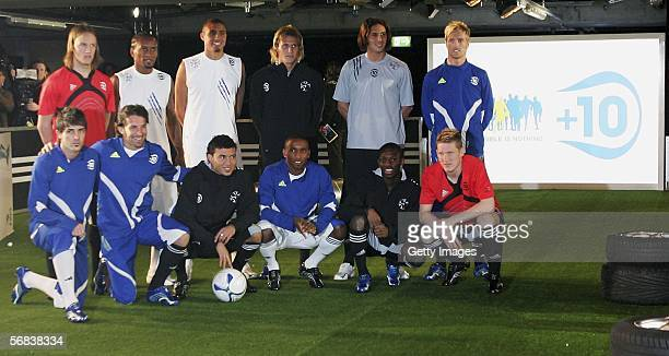 Players posing during the Major adidas F50 Tunit Launch Event on February 13 2006 in Munich