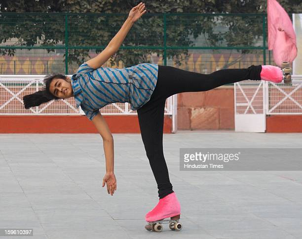 Players practice ahead of the 50th National Artistic Skating Championship 2013 being held at Noida Sports Stadium at Sector 21A on January 17 2013 in...