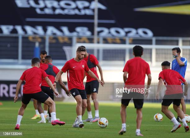 Players practice during an Sevilla FC Training Session And Press Conference at MSV Arena on August 05 2020 in Duisburg Germany