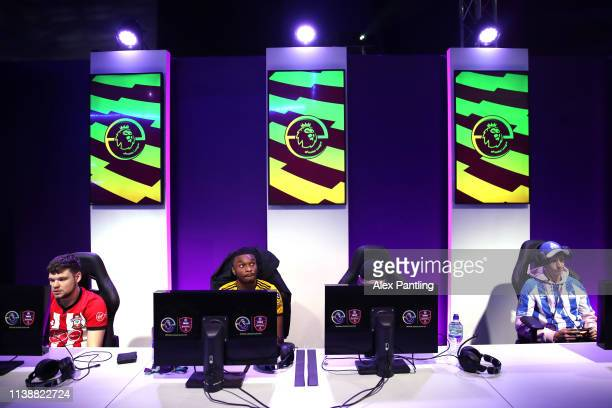 Players practice during day one of the 2019 ePremier League Finals at Gfinity Arena on March 28 2019 in London England