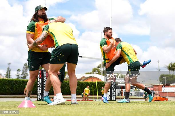 Players practice tackling during the Australian Kangaroos Rugby League World Cup training session at Langlands Park on November 28 2017 in Brisbane...