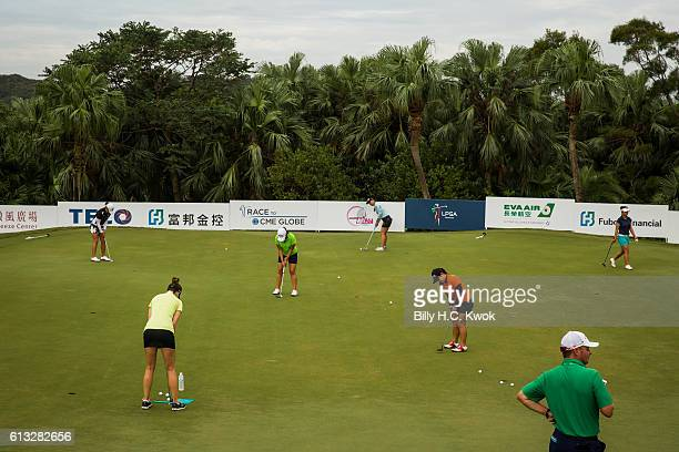 Players practise before competition in the Fubon Taiwan LPGA Championship on October 8 2016 in Taipei Taiwan