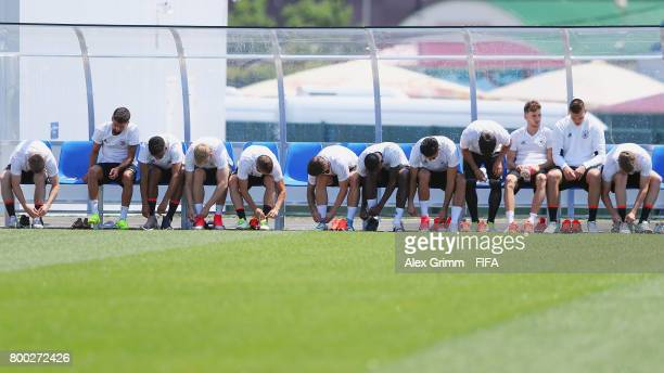 Players prepare for a Germany training session ahead of their FIFA Confederations Cup Russia 2017 Group B match against Cameroon at Park Arena...