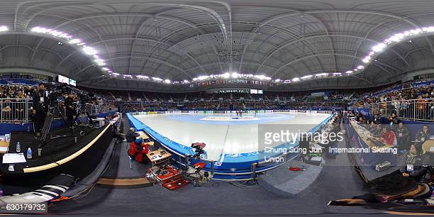 Players prepare for their race during the ISU World Cup Short Track 2016 on December 18 2016 in Gangneung South Korea