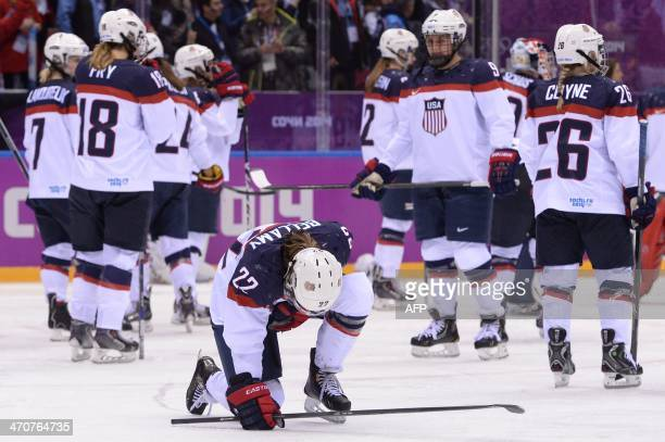 US players react after loosing the Women's Ice Hockey Gold Medal Game between Canada and USA at the Bolshoy Ice Dome during the Sochi Winter Olympics...