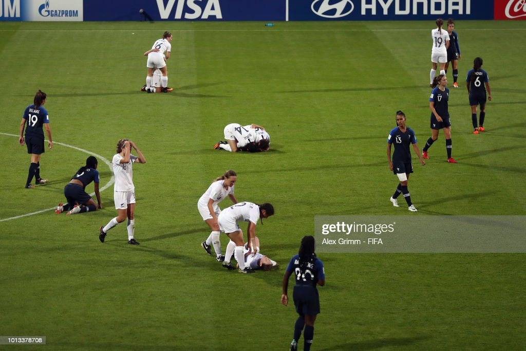 Players react after the FIFA U-20 Women's World Cup France 2018 group A match between France and New Zealand at Stade de la Rabine on August 8, 2018 in Vannes, France.
