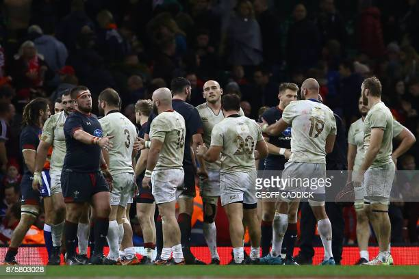 Players react at the final whistle during the international rugby union test match between Wales and Georgia at Principality stadium in Cardiff south...