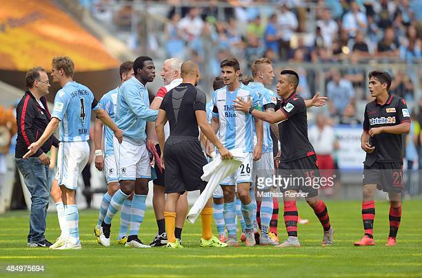 Players react during the game between TSV 1860 Muenchen and Union Berlin on august 23 2015 in Muenchen Germany