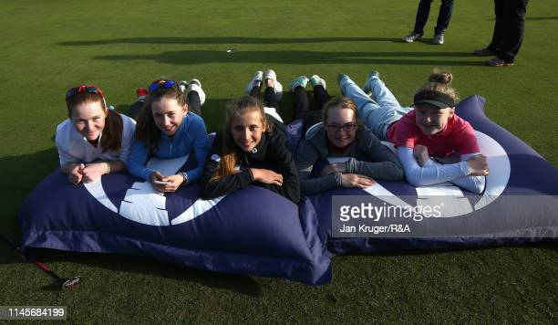 Players realx on the the Open pillows during the final round of the RA Girls U16 Amateur Championship at Fulford Golf Club on April 28 2019 in York...