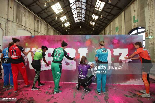 Players reveal WBBL03 on an artistic activation during the 201718 WBBL Women's Big Bash League season launch at Carriageworks on December 7 2017 in...