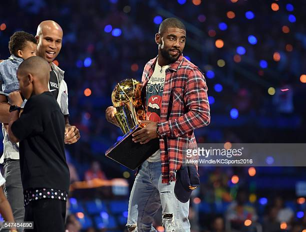 NBA players Richard Jefferson and Kyrie Irving appear onstage during the Nickelodeon Kids' Choice Sports Awards 2016 at UCLA's Pauley Pavilion on...