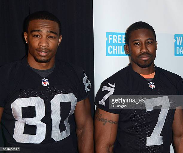 NFL players Rod Streater and Marquette King pose backstage during the 1st Annual 'We Day' California at ORACLE Arena on March 26 2014 in Oakland...