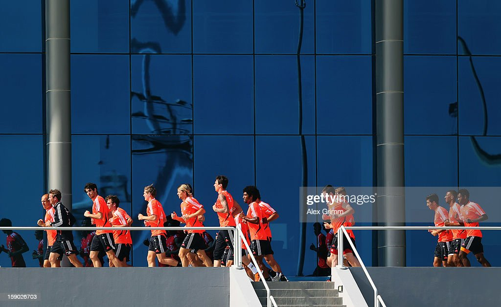 Players run during a Bayern Muenchen training session at the ASPIRE Academy for Sports Excellence on January 6, 2013 in Doha, Qatar.