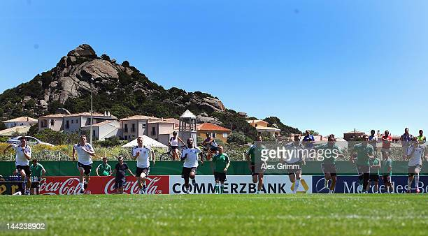 Players run during a Germany training session at Campo Sportivo Comunale Andrea Dora on May 12 2012 in Abbiadori Italy
